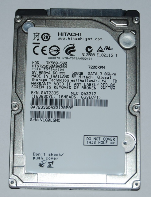 HDD Laptop Hitachi 500G 7200vp