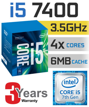 CPU Intel Core i5 7400 (Up to 3.5Ghz/ 6Mb cache) Kabylake